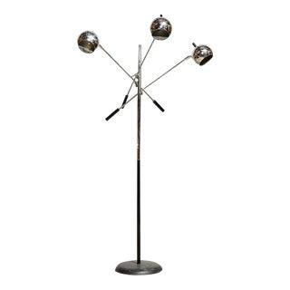 3-Branch Chrome Orbiter Floor Lamp