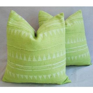 Green & Cream Mali Tribal Mud Cloth Pillows - A Pair Preview