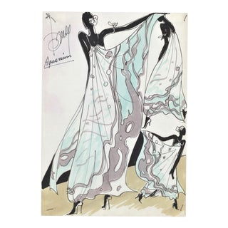 1980s Original Watercolor Fashion Drawing-Beach/Cruise Wear For Sale