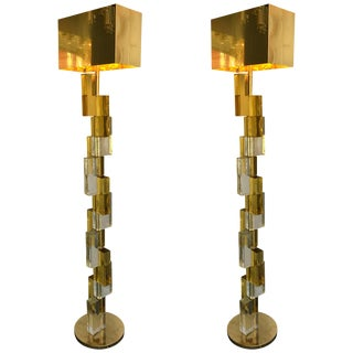 Contemporary Floor Lamps Cubic Murano Glass. Italy For Sale