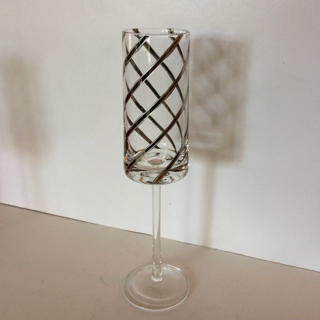 Vintage Crystal Platinum Swirl Toasting Glasses - A Pair For Sale - Image 5 of 11