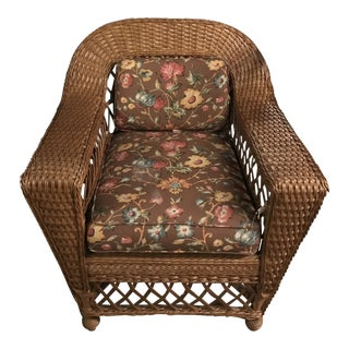 Late 20th Century Vintage Oversized Wicker Chair For Sale