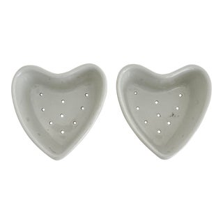 French Porcelain Heart Shape Cheese Molds - Pair For Sale