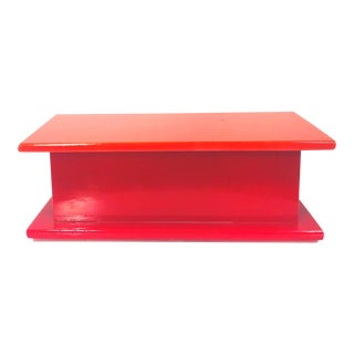 Vintage Bright Orange and Red Lucite Lidded Box For Sale