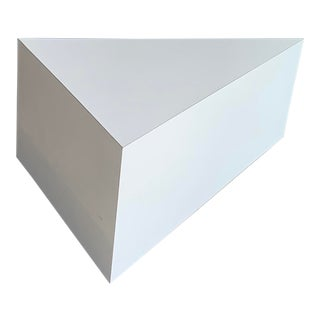 Post Modern White Laminate Triangle End Table For Sale