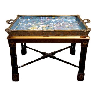 Porcelain and Bronze Tray on Faux Bamboo Wood Table For Sale
