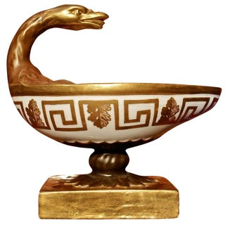 Period Neoclassical Porcelain Inkwell in the Form of Roman Lamp For Sale