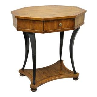 Antique Italian Biedermeier Cherry Saber Leg One Drawer Accent Lamp Side Table For Sale