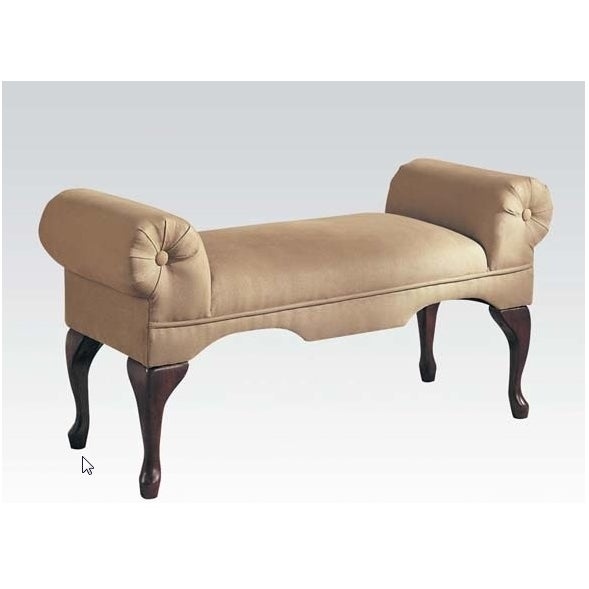 Aston Microfiber Rolled Arm Bench, Beige Finish - Image 3 of 7