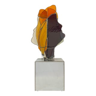 Mid Century Modern Multiple Faces Stained-Glass Sculpture Designed by Kay Weiner For Sale