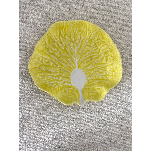 Pretty yellow cabbage leaf serving dish form Portugal. In excellent vintage condition.