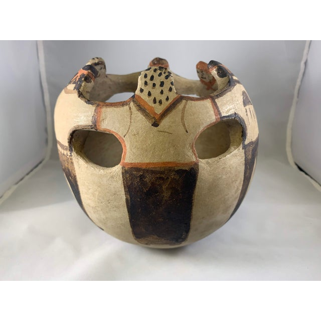 Orange Southwest Handmade and Hand Painted Papago Friendship Pottery Bowl For Sale - Image 8 of 13