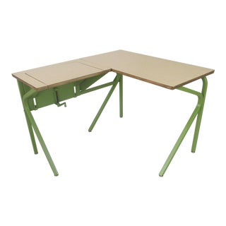 Modernist Green Metal Writing Desk With Adjustable Laptop Return For Sale