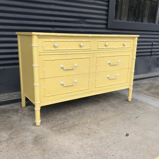 Hollywood Regency Vintage Thomasville Faux Bamboo Dresser Chest of Drawers For Sale - Image 3 of 11