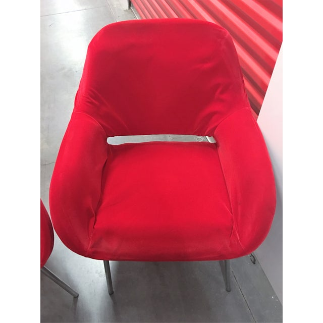 Red Velvet Chairs - Pair - Image 5 of 6