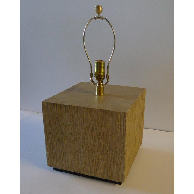 Paul Marra Modern Distressed Oak Table Lamp For Sale In Los Angeles - Image 6 of 8