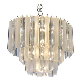 Vintage Hollywood Regency Clear and Frosted Lucite Brass 3 Tier Chandelier For Sale