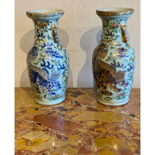 Asian 19th Century Antique Chinese Foo Lions Vases-a Pair For Sale - Image 3 of 8