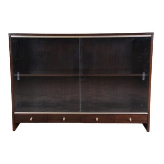 "Paul McCobb for Calvin ""Irwin Collection"" Mahogany Glass Front Cabinet or Bookcase For Sale"