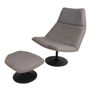 Italian Vintage Modern Swivel Lounge Chair and Ottoman For Sale