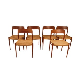Mid Century Niels Otto Moller Model 75 Teak Dining Chairs For Sale