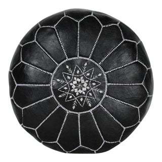 Modern Moroccan Black and Silver Pouf For Sale