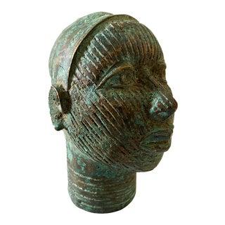 Benin Bronze Brass Head of Oba Nigeria For Sale