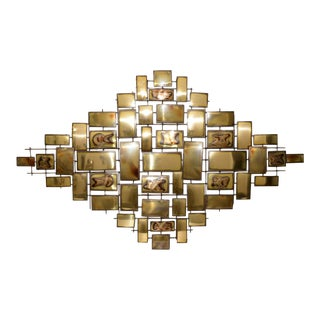 Mario Jason Mid Century Modern Brass Wall Sculpture C.1970s For Sale