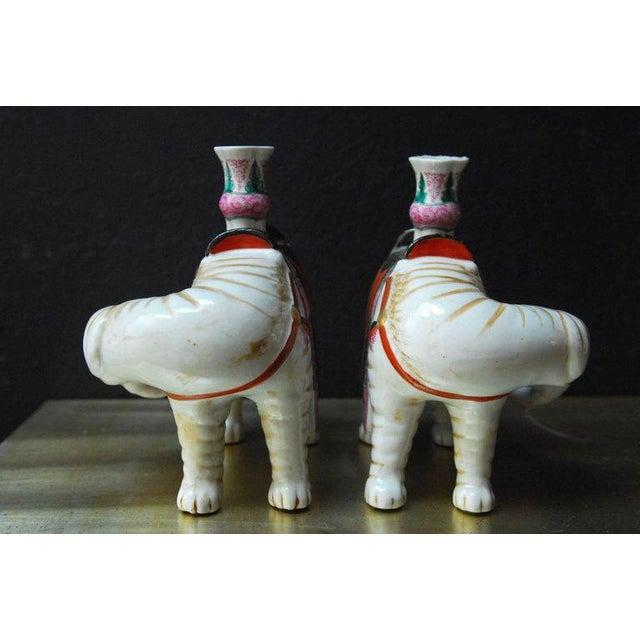 Mottahedeh Porcelain Elephant Candleholders - Set of 4 For Sale - Image 4 of 11
