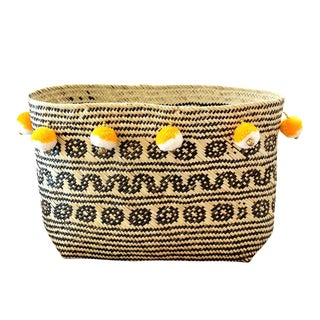 Borneo Temple Woven Straw Basket, With Bali Yellow & White Pom-Poms