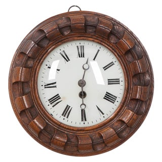 French 19th Century Hand Carved Oak Wall Clock For Sale