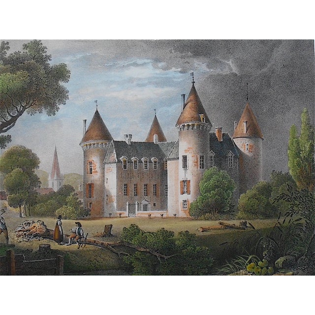 French Antique Chateaux De France Lithograph For Sale - Image 3 of 4