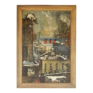 1940s Oil Painting of Bear Overlooking Shipyard For Sale