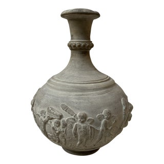 Vintage Neoclassical Plaster Pottery Vase With Cherubs For Sale