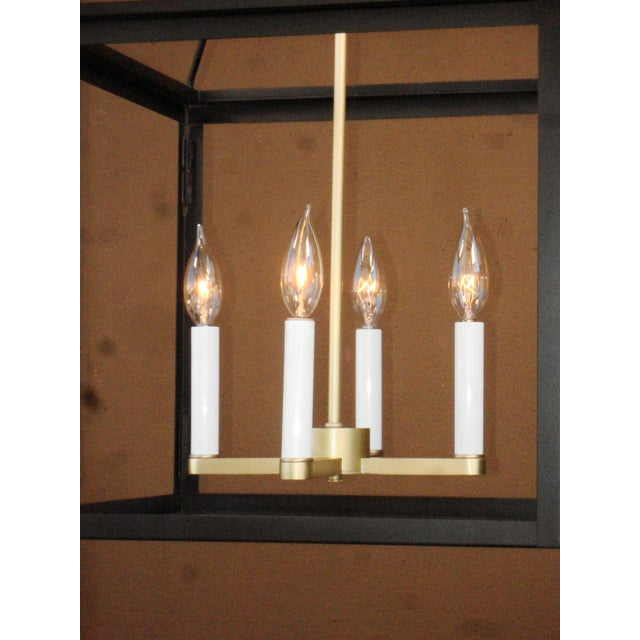 Modern Classic Modern Lantern in Brushed Brass and Black Finish For Sale - Image 3 of 6