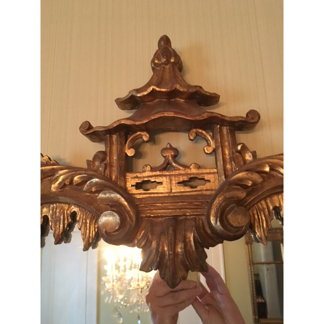 Chinese Chippendale Style Giltwood Mirror With Pagoda Top For Sale In Atlanta - Image 6 of 11