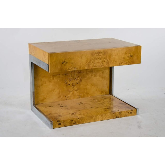 1990s Modern Burl Walnut Nightstand Side Table For Sale - Image 13 of 13