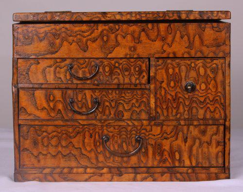 1920s Japanese Mulberry Wood Jewelry Box Chairish