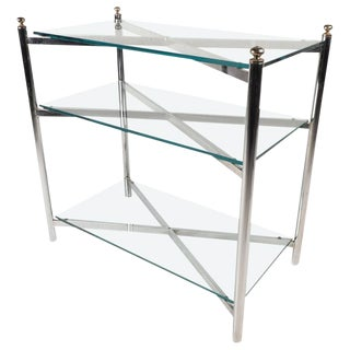 Maison Jansen Style Mid-Century Chrome & Glass Display Shelf For Sale