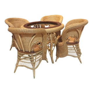 1970s Rattan Barrel Back Peacock Round Dining Set - 5 Pieces For Sale