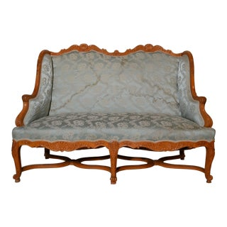 Antique French Provinvial Fruitwood Settee Circa 1900 For Sale