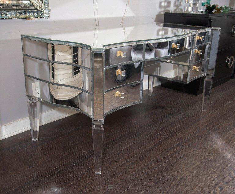 Glamorous Transparent Mirrored Writing Desk