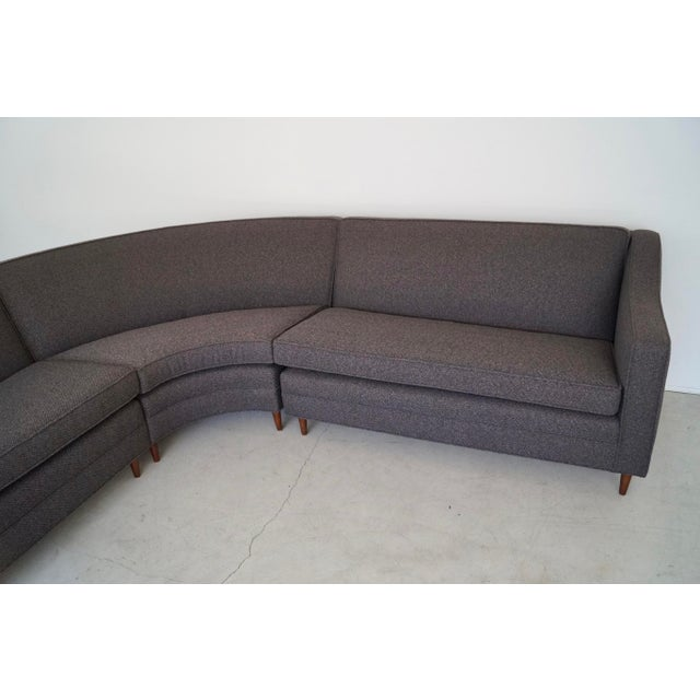 Wood Mid-Century Modern Reupholstered 3-Piece Sectional Sofa For Sale - Image 7 of 13
