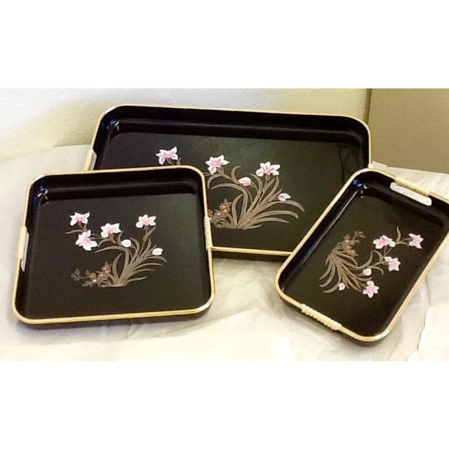 3 Mid-Mod Lacquerware Hand Decorated Trays-Unused - Image 3 of 7