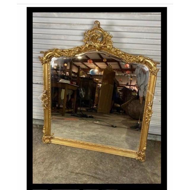Antique Gold Gilt Wood Frame Beveled Mirror For Sale - Image 11 of 12