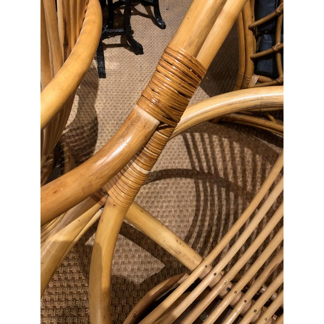 Bamboo 1980s Vintage Bamboo Swivel Chairs- a Pair For Sale - Image 7 of 13