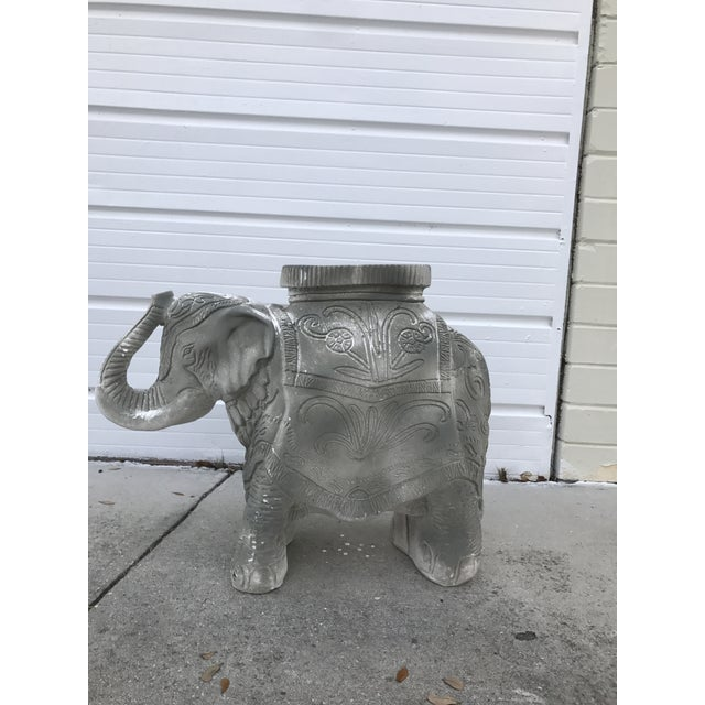 Gorgeous, distressed gray concrete elephant garden stool. This piece is meant to be distressed, but could be painted if...