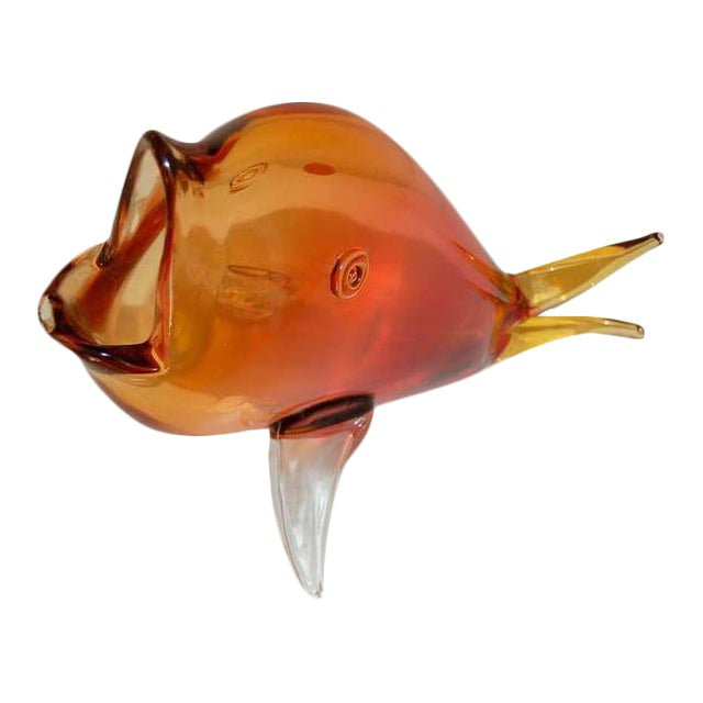 Vintage Murano Glass Fish Orange For Sale
