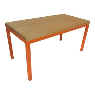 Butcher Block Top Orange Dining Table