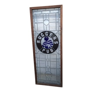 Vintage Stained Glass Rugby Pub Window For Sale